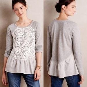 ANTHROPOLOGIE Meja Lace Layered Pullover {2C6}
